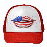 USA Flag Lipstick on Smiling Lips Hat