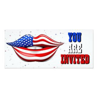 USA Flag Lipstick on Smiling Lips  Invitation Card
