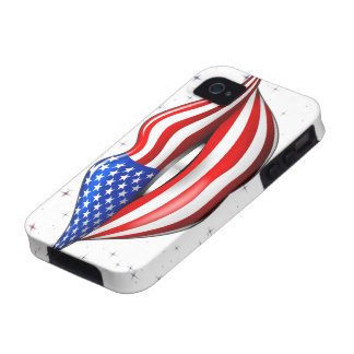 USA Flag Lipstick on Smiling Lips iPhone 4 Case