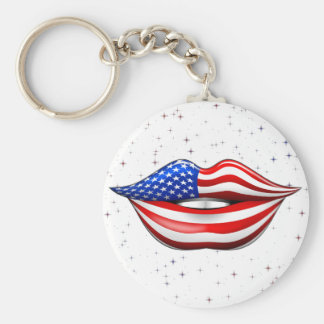 USA Flag Lipstick on Smiling Lips  Keychain
