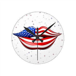 USA Flag Lipstick on Smiling Lips Wall Clock