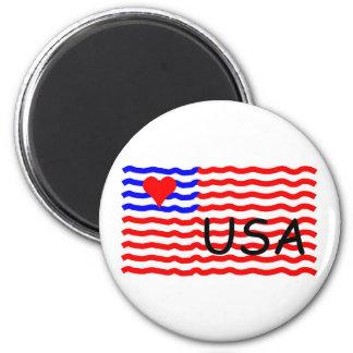 USA FLAG -LOVE 6 CM ROUND MAGNET
