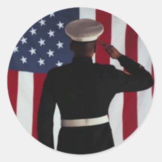USA FLAG & MARINE WARRIOR ROUND STICKER