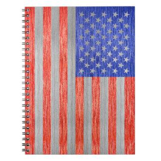 USA FLAG METAL 1 NOTE BOOKS