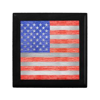 USA FLAG METAL 1 SMALL SQUARE GIFT BOX