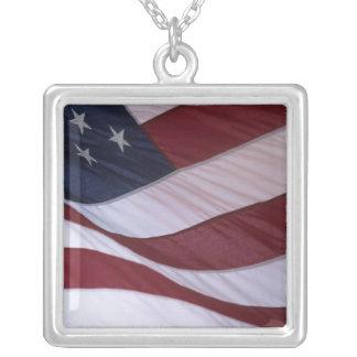 USA flag, North Carolina, USA Square Pendant Necklace