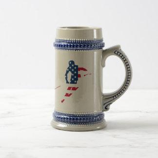 USA Flag of America Skiing American Beer Stein