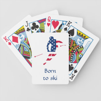 USA Flag of America Skiing American Bicycle Playing Cards