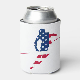 USA Flag of America Skiing American Can Cooler