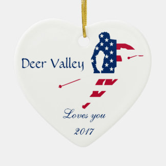 USA Flag of America Skiing American Ceramic Ornament