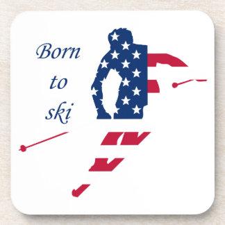 USA Flag of America Skiing American Coaster