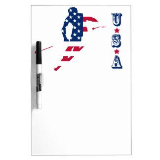 USA Flag of America Skiing American Dry Erase Board
