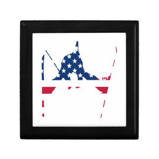 USA Flag of America Skiing American Gift Box