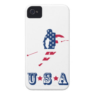 USA Flag of America Skiing American iPhone 4 Case