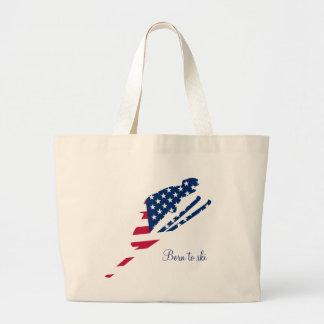 USA Flag of America Skiing American Large Tote Bag
