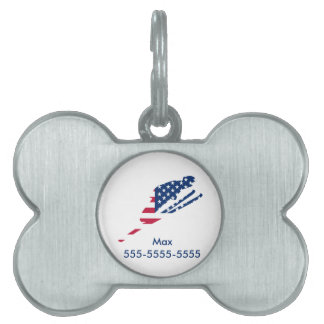 USA Flag of America Skiing American Pet ID Tag