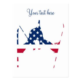 USA Flag of America Skiing American Postcard
