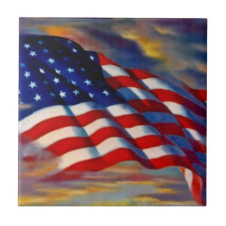 USA Flag Old Glory in Clouds Military Gift Tile