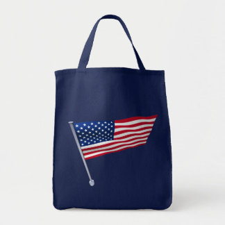 USA flag on a pole Tote Bags