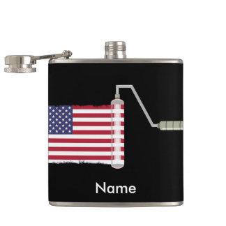 USA Flag Paint Roller Hip Flask
