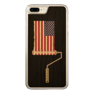 USA Flag Paint Roller Stars and Stripes Carved iPhone 8 Plus/7 Plus Case