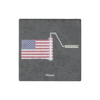 USA Flag Paint Roller Stone Magnet