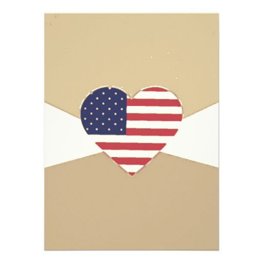 USA Flag Patriotic Heart Vintage Retro Style Cream Announcements