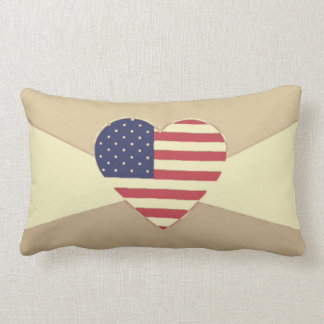 USA Flag Patriotic Heart Vintage Retro Style Cream Lumbar Pillow