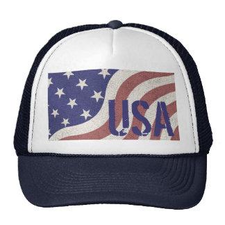USA flag patriotic rustic weathered monogram Cap