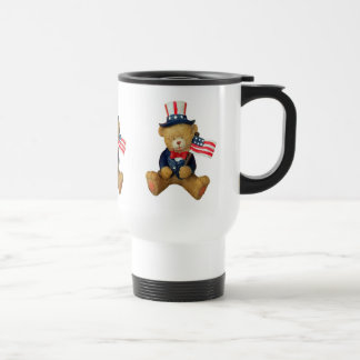 USA Flag Patriotic Teddy Bear Travel Mug