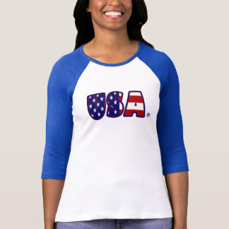 USA Flag Patterned Awesome Lady T-Shirt