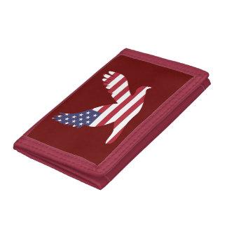 USA Flag Peace Dove Tri-fold Wallets