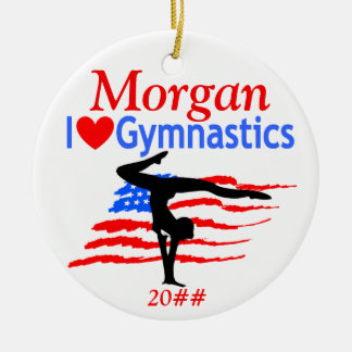 USA FLAG PERSONALIZED GYMNAST ORNAMENT