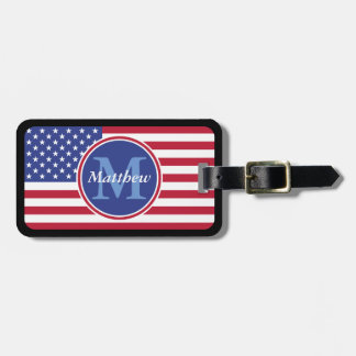 USA Flag Personalized Name and Monogram Luggage Tag