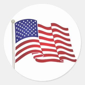 USA Flag Pole Classic Round Sticker