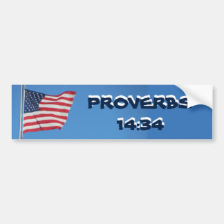 USA Flag Proverbs 14:34 Righteousness Bumper Sticker