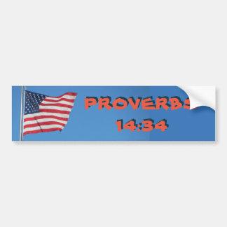 USA Flag Proverbs 14:34 Righteousness Exalts Bumper Sticker