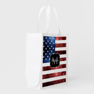 USA flag red and blue sparkles glitters Monogram Reusable Grocery Bag