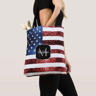 USA flag red and blue sparkles glitters Monogram Tote Bag
