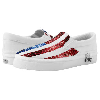 USA flag red and blue sparkles glitters Slip On Shoes