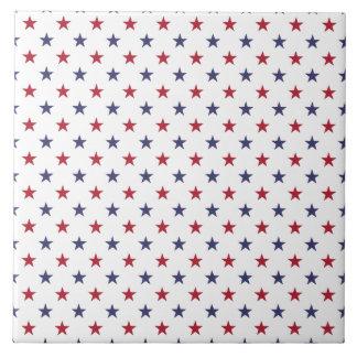 USA Flag Red and Flag Blue Stars Tile