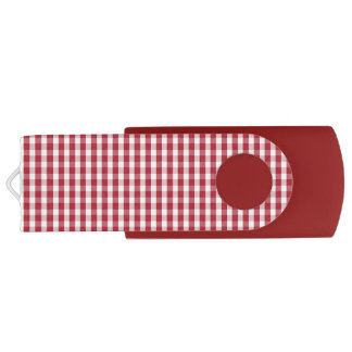 USA Flag Red and White Gingham Checked Swivel USB 3.0 Flash Drive