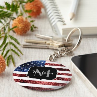 USA flag red blue sparkles glitters Monogram Basic Round Button Key Ring