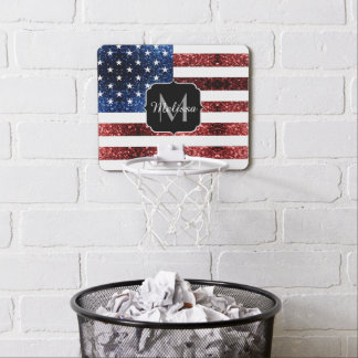 USA flag red blue sparkles glitters Monogram Mini Basketball Hoop