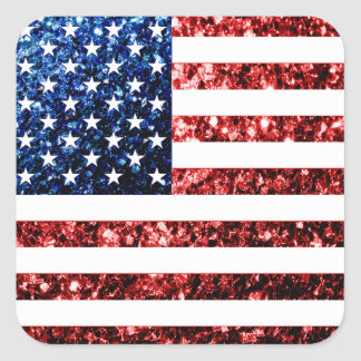 USA flag red & blue sparkles glitters Square Sticker