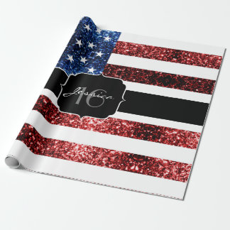 USA flag red blue sparkles glitters Sweet 16 Wrapping Paper
