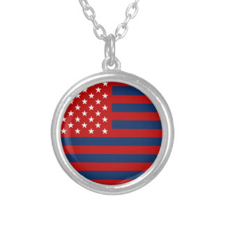 USA Flag - Red Stencil Silver Plated Necklace