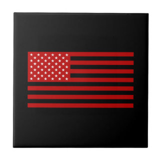 USA Flag - Red Stencil Tile