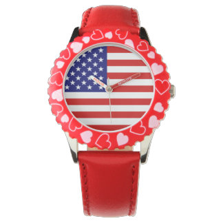 usa flag red white and blue + red band wristwatch