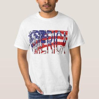 USA Flag Red White Blue America Two-Tone T-Shirt